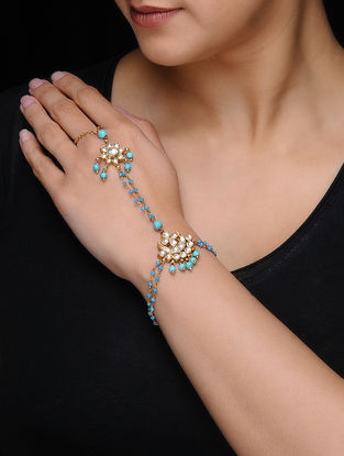 Blue Kundan-inspired Gold-plated Silver Hathphool