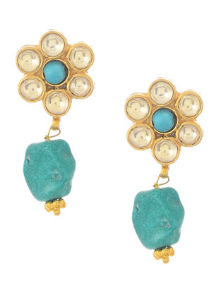Blue Kundan-inspired Gold-plated Silver Earrings with Floral Design