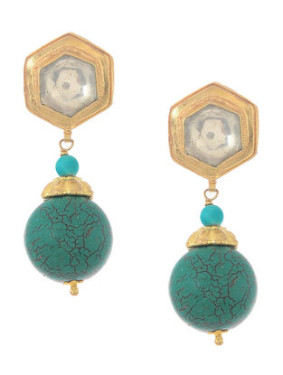 Blue Kundan-inspired Gold-plated Silver Earrings