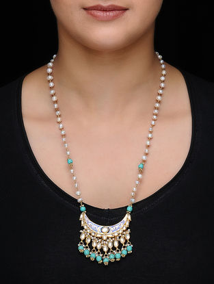 Blue Enameled Kundan-inspired Gold-plated Silver Necklace with Pearls