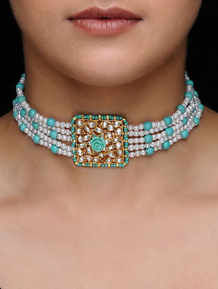 Blue Pearl Beaded Kundan-inspired Gold-plated Silver Necklace