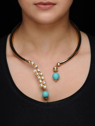 Blue Kundan-inspired Gold-plated Silver Hasli