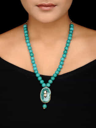 Turquoise Beaded Kundan-inspired Gold-plated Silver Necklace