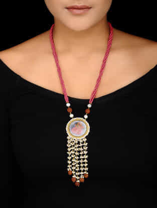Red Beaded Gold-plated Silver Necklace with Hand-painted Lord Ganesha Motif