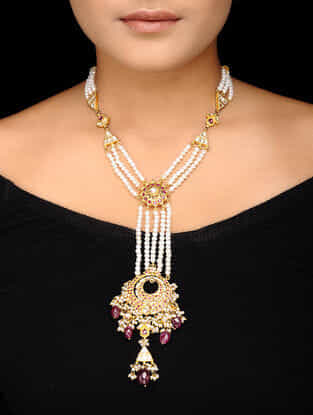 Ruby Kundan-inspired Gold-plated Silver Necklace with Pearls