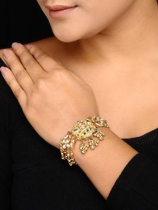 Green Kundan-inspired Gold-plated Silver Bracelet