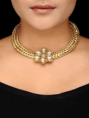 Kundan-inspired Gold-plated Silver Necklace