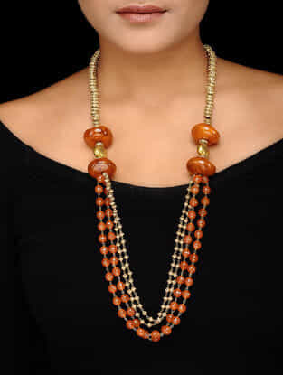 Orange Beaded Gold-plated Silver Necklace