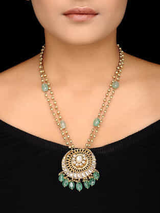 Green Kundan-inspired Gold-plated Silver Necklace