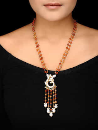 Carnelian Beaded Kundan-inspired Gold-plated Silver Necklace
