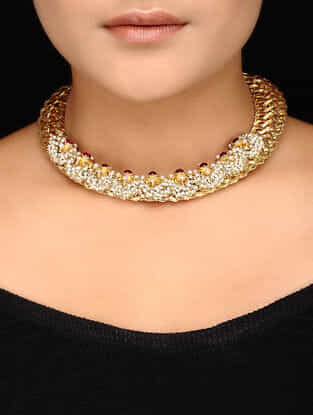 Ruby Kundan-inspired Gold-plated Silver Necklace
