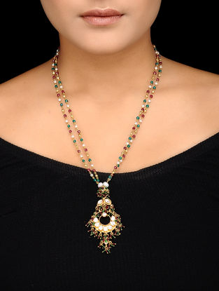 Multicolored Beaded Kundan-inspired Gold-plated Silver Necklace