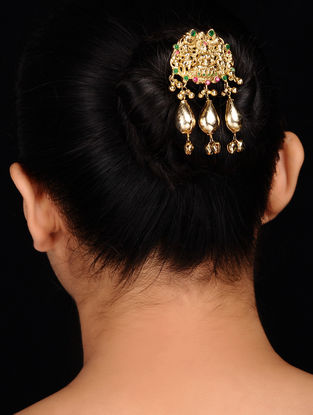 Gold Tone Silver Hair Pin with Deity Motif