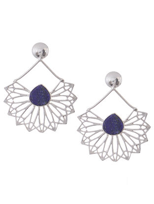 Blue Rhodium-Plated Silver Earrings
