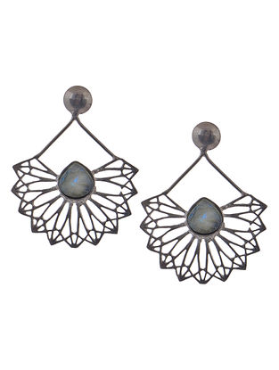 Grey Rhodium-Plated Silver Earrings