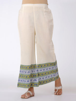 Ivory-Blue Block-printed Elasticated Waist Cotton Palazzos