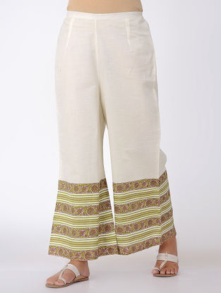 Ivory-Olive Block-printed Elasticated Waist Cotton Palazzos