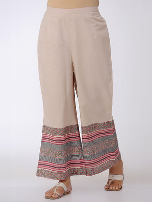 Beige-Pink Block-printed Elasticated Waist Cotton Palazzos