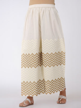 Ivory-Gold Block-printed Elasticated Waist Cotton Palazzos
