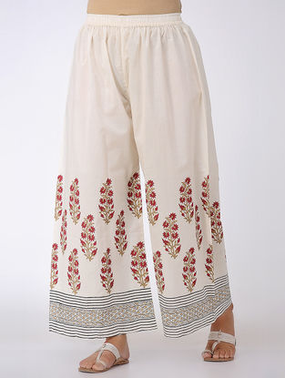 Ivory-Red Block-printed Elasticated Waist Cotton Palazzos
