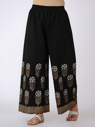 Black-Ivory Block-printed Elasticated Waist Cotton Palazzos