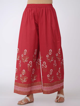 Red-Ivory Block-printed Elasticated Waist Cotton Palazzos