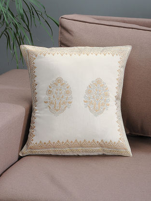 White-Beige Khari-printed Silk Cushion Cover with Mughal Boota -16in x 16in