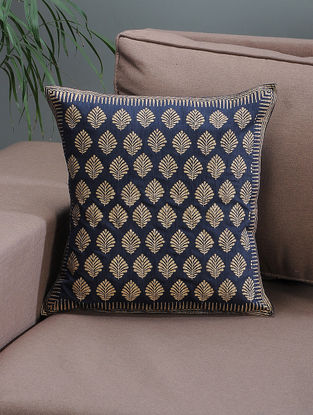 Navy Blue-Beige Khari-printed Silk Cushion Cover with Boota Jaal - 16in x 16in