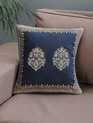 Navy Blue-Beige Khari-printed Silk Cushion Cover with Mughal Boota -16in x 16in