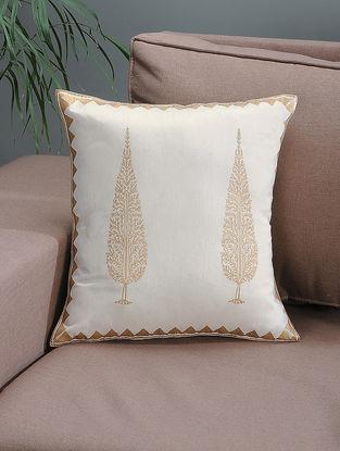 White-Beige Khari-printed Silk Cushion Cover with Tree Boota -16in x 16in