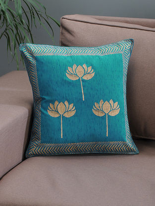 Blue-Beige Khari-printed Silk Cushion Cover with Lotus Motif -16in x 16in