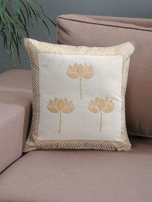 White-Beige Khari-printed Silk Cushion Cover with Lotus Motif -16in x 16in