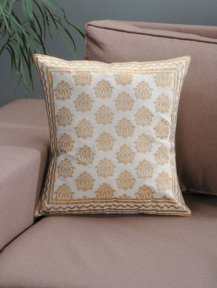 White-Beige Khari-printed Silk Cushion Cover with Damask Print -16in x 16in