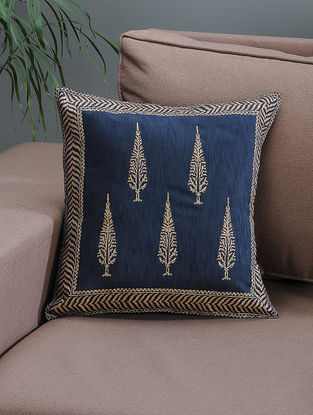 Navy Blue-Beige Khari-printed Silk Cushion Cover with Tree Boota -16in x 16in