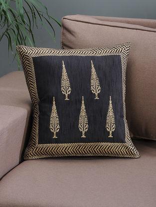 Black-Beige Khari-printed Silk Cushion Cover with Tree Boota -16in x 16in