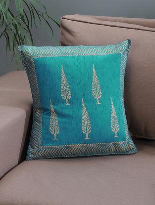 Blue-Beige Khari-printed Silk Cushion Cover with Tree Boota -16in x 16in