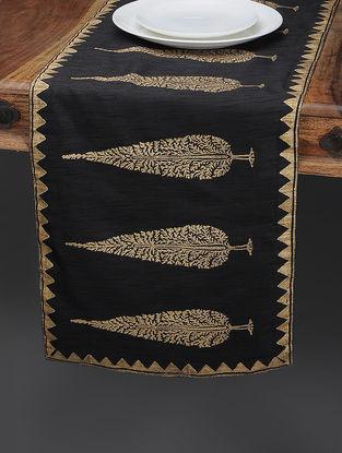 Black-Beige Khari-printed Silk Table Runner with Tree Boota