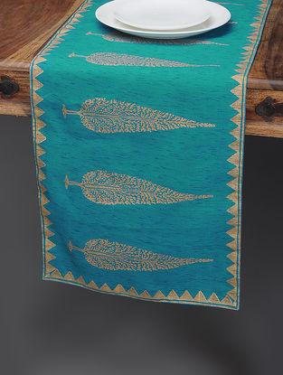 Blue-Beige Khari-printed Silk Table Runner with Tree Boota