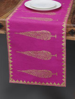 Pink-Beige Khari-printed Silk Table Runner with Tree Boota