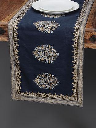 Navy Blue-Beige Khari-printed Silk Table Runner with Mughal Boota
