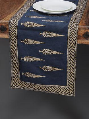 Navy Blue-Beige Khari-printed Silk Table Runner with Tree Boota