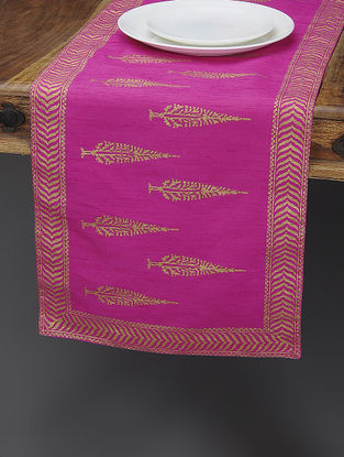 Pink-Beige Khari-printed Silk Table Runner with Tree Boota