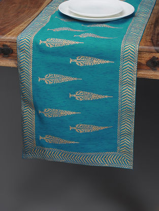 Blue-Beige Khari-printed Silk Table Runner with Tree Boota