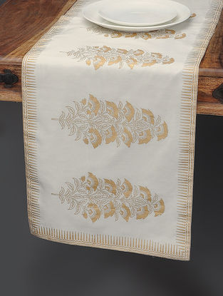 White-Beige Khari-printed Silk Table Runner with Mughal Boota