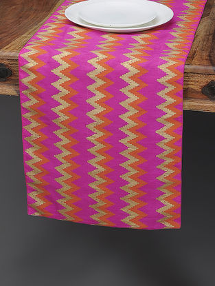 Pink-Orange Khari-printed Silk Table Runner with Ikat Print