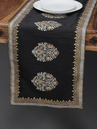 Black-Beige Khari-printed Silk Table Runner with Mughal Boota