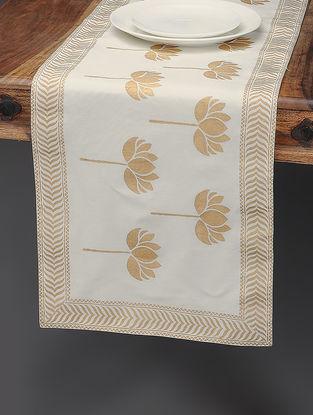 White-Beige Khari-printed Silk Table Runner with Lotus Motif
