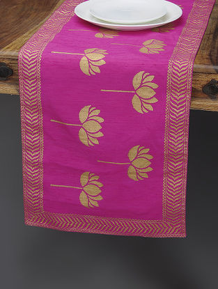Pink-Beige Khari-printed Silk Table Runner with Lotus Motif