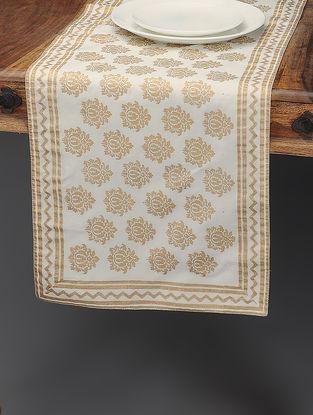 White-Beige Khari-printed Silk Table Runner with Boota Jaal