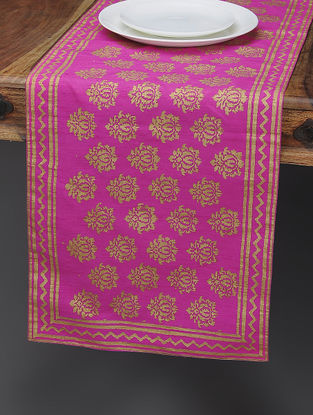 Pink-Beige Khari-printed Silk Table Runner with Boota Jaal